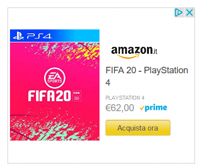 screenshot pubblicità remarketing di Amazon